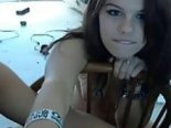 Beautiful girl with braces strip on skype