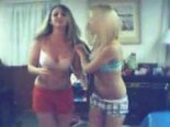 Blonde and brunette teens Teasing on MSN