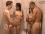 Amateur foursome in shower