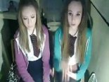 Webcam captures two schoolgirls