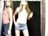 Two dancing blonde teens