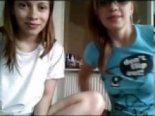 Two young teens teasing on video chat