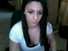 Stunning brunette rubbing clit on Skype