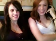 Two Chatroulette girls flashing and teasing