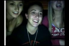 Three young girls flashing on Chatroulette