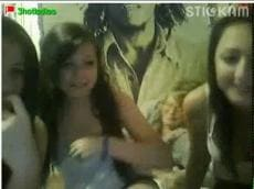 Three ladies  flashing on Stickam