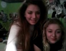 Two college lesbians playing on webcam