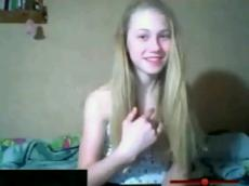Slim blonde rubbing pussy closeup, stickam ->