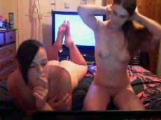 Two lesbians scissoring on webcam