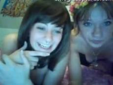 Two college girls flashing on Chatroulette