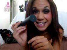 Self shot girl drill using hairbrush