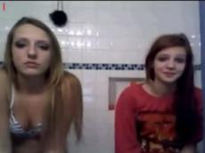 Two sexy girls flashing on live cam chat, stickam