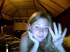 Lusty blonde playing naked on Chatroulette, stickam