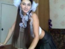 Russian schoolgirl strip on Bongacams