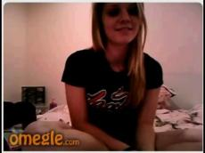 Blonde teen flashing on Omegle chat