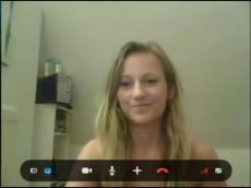 Blonde girlfriend gets naked on Skype