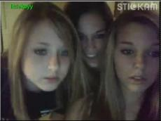 Three college teen playing with boobs on Stickam